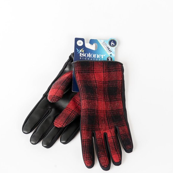 NWT Isotoner Red Faux Leather Plaid Driving Glove